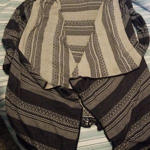 Charming charlie black/gray open front  cardigan